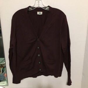 XXL Old Navy cropped grandpa plum sweater